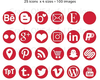 Red Social Media Icons, Round Red Icons, Red Social Graphics, Blog Buttons, Portfolio Icons, Business Card Icons, Blog Graphics