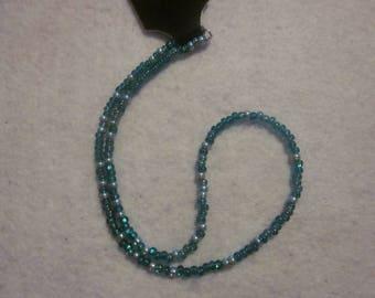 Multi Teal Seed Bead Necklace