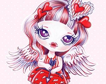 Valentine Girl 8 x 10 Art Print - Valentine's Day Illustration, Love
