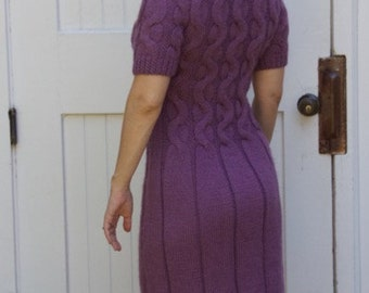 Plum Aran Knit Dress, fall dress, women's knit dress, winter dress, braided dress, sweater dress, Ready to Ship