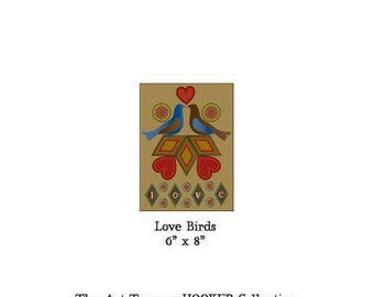 """Love Birds ~ 6"""" x 8"""" Paper Pattern for PUNCH NEEDLE by The Art Tramp/HOOKER Collection"""