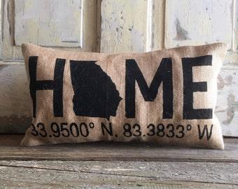 Pillow Cover | Home Pillow | Burlap Pillow | Coordinates pillow | State pillow | Latitude Longitude pillow | Gift for Him | Graduation Gift