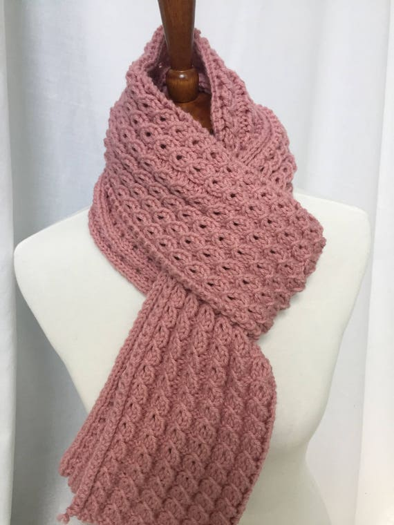 Handmade Knit Scarf Soft Rose Mock Cable