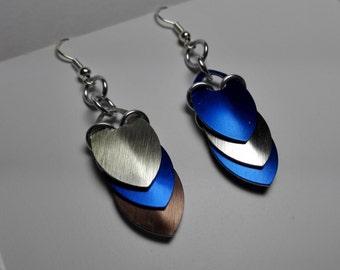 Earrings Blue/Silver Scales