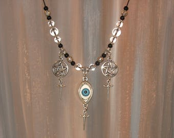 Eye - pentacle - sword - clear quartz necklace / #014