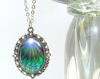 """Chakra Jewelry, Reiki Energy Necklace, Blue Green Pendant Necklace """"New Growth"""""""