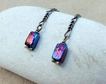 Blue Raku Bead Earrings on Chain Oxidized. Modern Dangle Earrings.