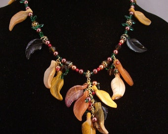 Mookaite, peach stone and jet leafs Harvest necklace and earring set with pearls, and crystals