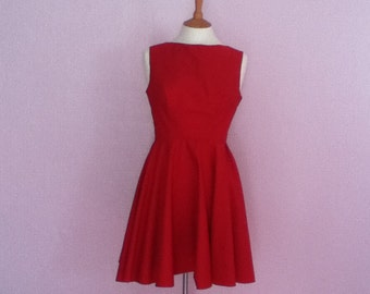 Vintage red 1950's style sleeveless fit & flare v-neck back dress