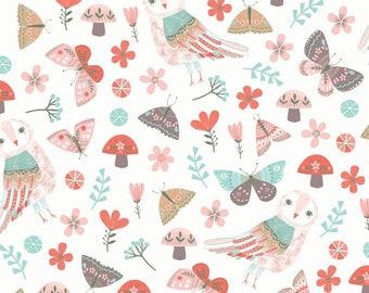 Forest Owl by Designer Rebecca Jones for Clothworks, Owl on White, yard