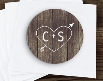Carved Initials  Stickers, Custom Labels - Round Wedding labels - Bridal Shower Stickers - Wedding Candy Stickers - Wedding Shower Stickers