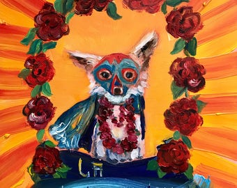 Oil painting / Luchador Chihuahua with Roses / wrestling painting / wwe fan art / tiny painting