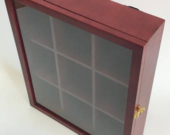 Vintage Curio Mahogany Wall Cabinet 9 Large Cubicles Glass Door Brass Lock Solid Wood Heavy