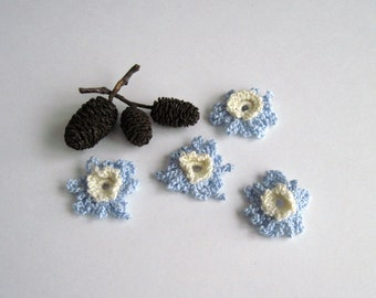 4 Small Baby Blue and Cream Loopy Crochet Flower Embellishments - Set of 4