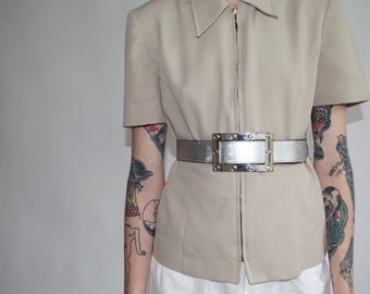 vintage jacket, vintage zipper front jacket in taupe, militaristic , exaggerated collar short sleeve mid 1990's || sz US 6