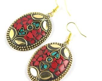 Tibetan tribal stone inlaid earring