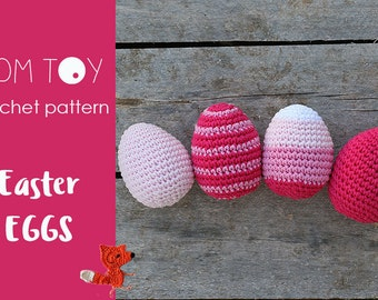 Easter Eggs Crochet PATTERN, Holidays collection by TomToy Three designs Plain, Ombre and Striped Easy crochet pattern First crochet project