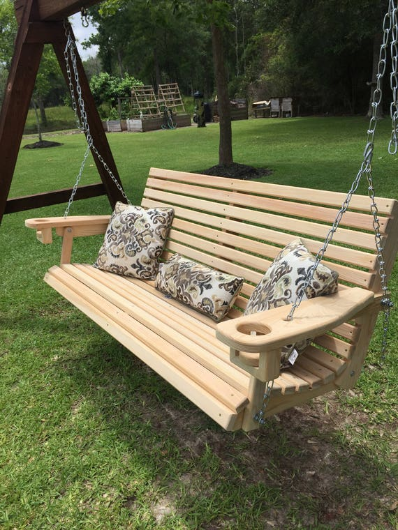 5 Ft Handmade Cypress Porch Swing with Cupholders Custom