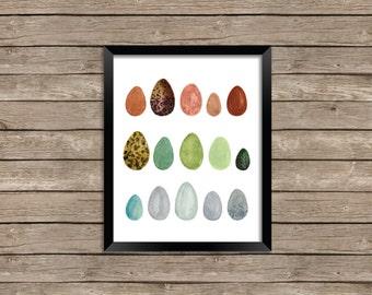 Rainbow Eggs Watercolor Illustration Print Wall Art Fine Art
