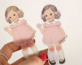 6 Sheets Girl sticker group outfit-- paper doll mate stickers
