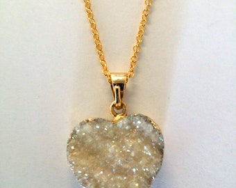 Agate Crystal Heart Necklace - gold edged pendant - with gold chain