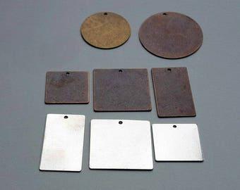 9 espaces estampage - argent en laiton cuivre assortiment - Estampe main estampage bijoux métal fabriquées à la main pendentifs en métal