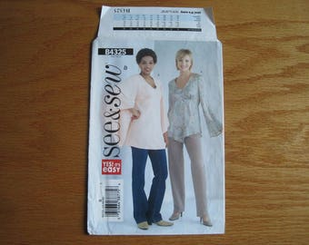 Misses' and Misses' Petite Pullover Top – See & Sew B4325 Butterick Sewing Pattern - UNCUT Sewing Pattern –Sizes 12, 14, 16