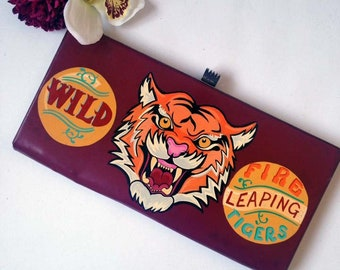 Circus Tiger Sideshow Handbag, Hand Painted, Clutch Bag,Pin Up, Rockabilly, Vintage style