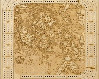 San Juan Islands, WA Topographic Cribbage Board