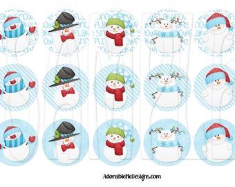 Snowman Bundle Digital Bottle Cap Images