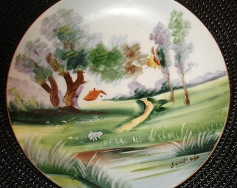 Antique Collectors Plate Asian Japanese Wall Hanging Hand Painted UCAGCO China Countryside Scene Artist Signature