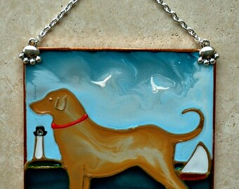 Ready to Ship! Personalized Yellow Lab Gifts Labrador Retriever Wall Hanging Beach Dog Decor Suncatcher Lab Ornament Yellow Lab Memorial
