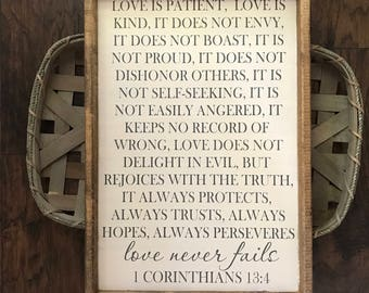 Love Never Fails Sign - Love Is Kind Sign - Love Is Patient Sign - 1 Corinthians 13 - 1 Corinthians 13 Sign - Bible Verse Sign