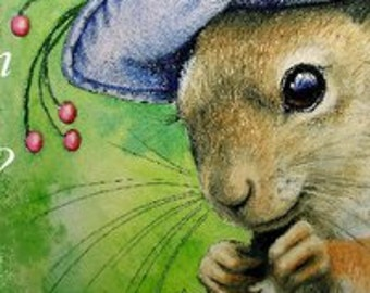 Cute Lady Squirrel Bookmark from Original Art  Melody Lea Lamb