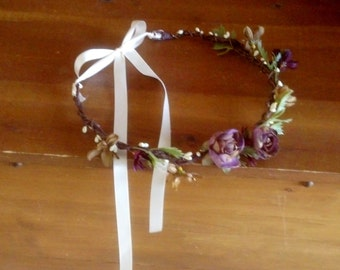 Hair Wreath -My Lady- Fall Flower crown bridal headpiece Fairy accessory Plums browns hair fashion country Renaissance Festival