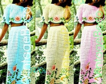 Sexy Crochet PATTERN • Vintage 1970s Midriff Top Skirt Set • Crop Top Crochet Pattern • Skirt Crochet Flower • Instant Download PDF Pattern