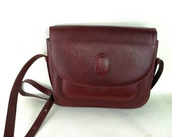 Cartier vintage leather messenger bag shoulder bag bordeaux tracolla bag mash cuir borsa Neighborhood
