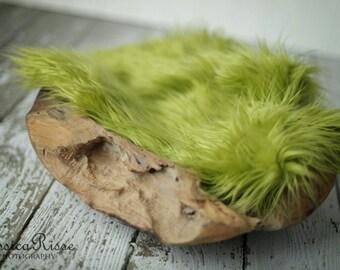 Fur Photography Prop Newborn Baby Photo Props Newborn Photography Props Baby Picture Props Soft Blanket Rug Nest Photo Prop  Olive Green
