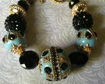 Aqua Black and Gold Bead Bracelet