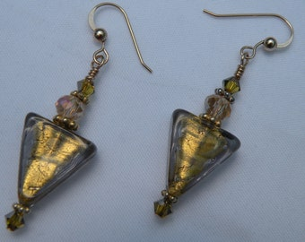Gray and 24 Karat Gold Foil Triangle Shaped Earrings, Olive Colored Murano Glass, Venetian Beads, with Faceted Crystals, Gold Filled Wires