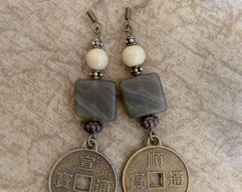Dark Jade, Antique Gold Dangle Earrings