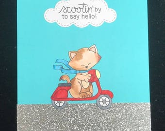 Scootin' By To Say Hello Greeting Card