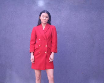 80's Red Trenchcoat   Short Peacoat   Red Double Breasted Overcoat   Womens Small   Wool Coat   Minimalist Coat