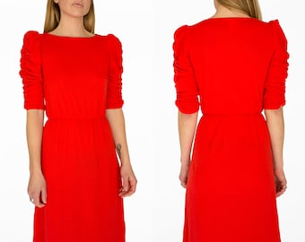Vintage Red Mid Length Dress Size Small