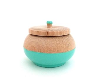 Turquoise jewelry box, wood jewelry box, tiny trinket box
