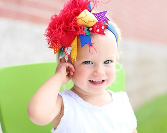 boutique CLASSIC RAINBOW over the top hair bow on a headband