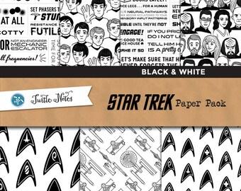 Star Trek Black & White Paper Pack : 14 Printable Digital Scrapbook Papers
