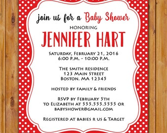 Red White Baby Shower Party Invitation Polka Dots It's a Girl Invite Printable 5x7 Digital JPG File (215)