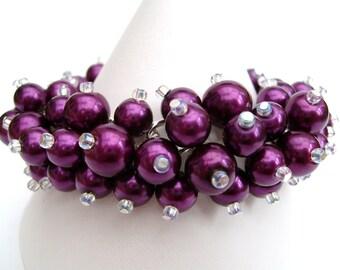 Magenta Purple Beaded Bracelet, Bridesmaid Jewelry, Cluster Bracelet, Pearl Bracelet, Bridesmaid Gift, Purple Bracelet, Purple Jewelry
