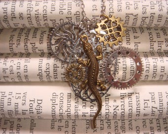 Lizard and gears steampunk necklace
